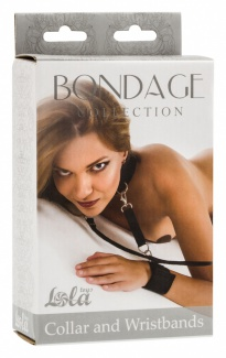 1058-01 ОШЕЙНИК С НАРУЧНИКАМИ BONDAGE COLLECTION COLLAR AND WRISTBANDS ONE SIZE